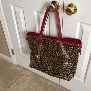 Brighton Leopard Print trimmed in Red Tote Bag